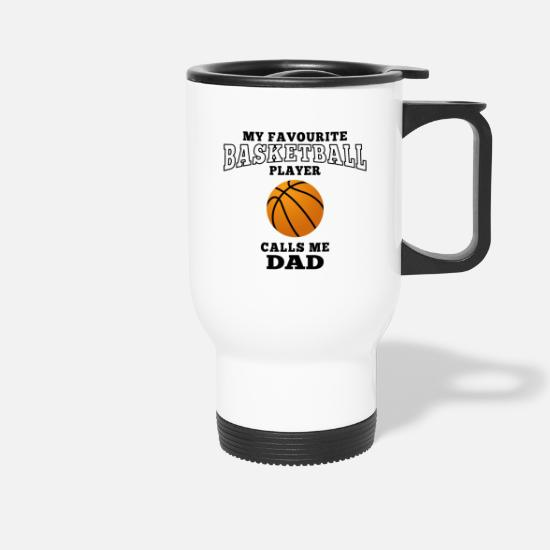 Basketball Mugs & Drinkware - dad's favorite basketball player - Travel Mug white
