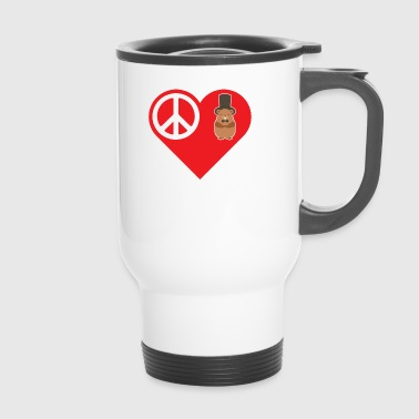 Hog Peace Love Groundhog With Top Hat Bow Tie - Travel Mug