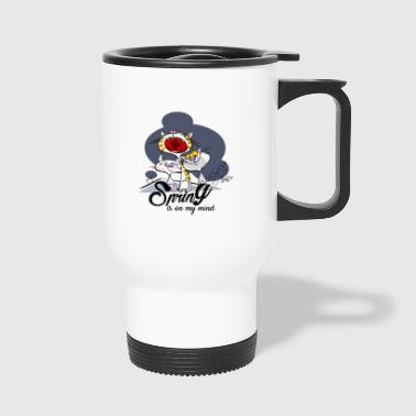 Yelling cat: Spring in the head - Travel Mug
