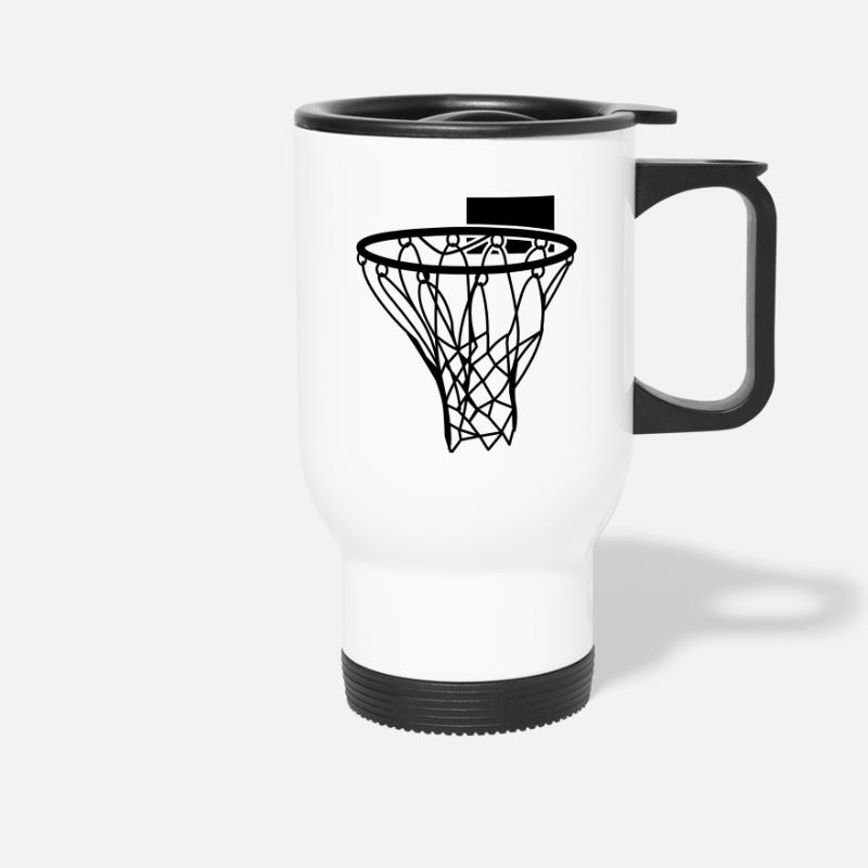 Netball Mugs & Drinkware - basketball netball hoop sports score - Travel Mug white