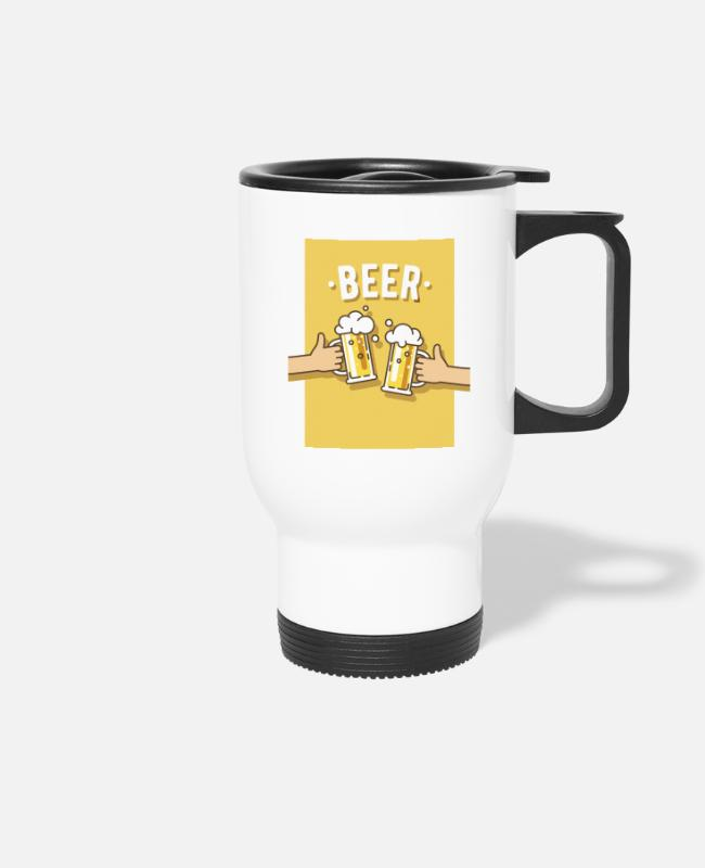 Heart Mugs & Drinkware - Men's Shirt - Beer Beer Quote - Alcohol Friends - Travel Mug white