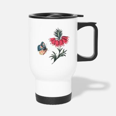 Flying butterfly with flowers - Travel Mug