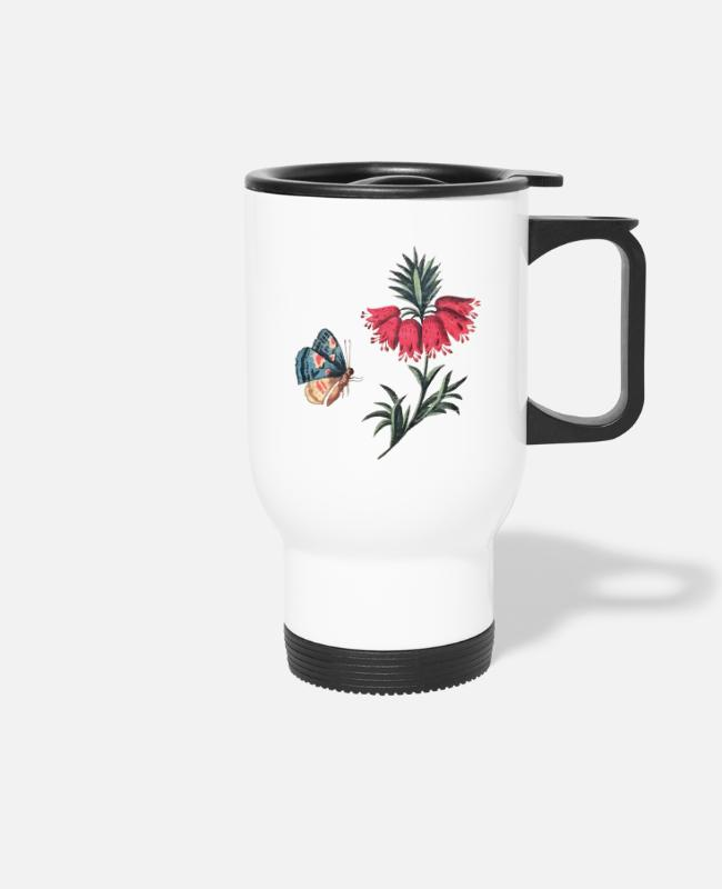 Red Mugs & Drinkware - Flying butterfly with flowers - Travel Mug white