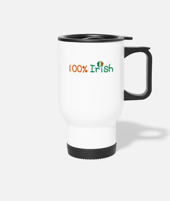 I Want To Marry Irish I Want To Have A Irish Girlfriend Irish Boyfriend Irish Husband Irish Wife Iri Mugs & Drinkware - ♥ټ☘Kiss Me I'm 100% Irish-Irish Rule☘ټ♥ - Travel Mug white