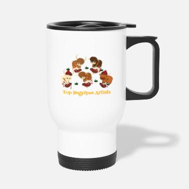 Band Member Top Highland Cattle Bagpipes Artists - Pipe Band - Travel Mug