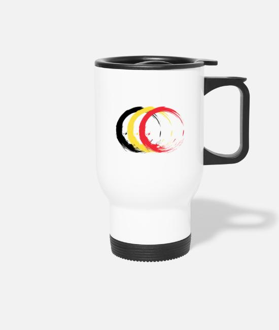 Birthday Mugs & Drinkware - Circle brush Belgium flag flag design colors - Travel Mug white