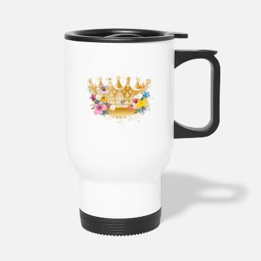 Golden Crown Golden crown with flowers - Travel Mug