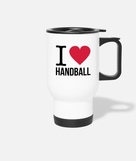 Ore Mountains Mugs & Drinkware - I love Handball - Travel Mug white