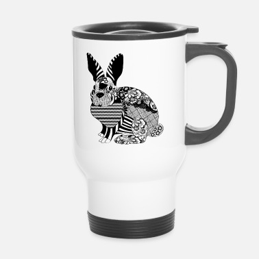 Cool bunny stylish black and white cool gift idea - Travel Mug