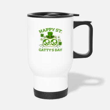 St Happy St. Catty's Day St Patricks Funny Cat Clover - Kubek termiczny