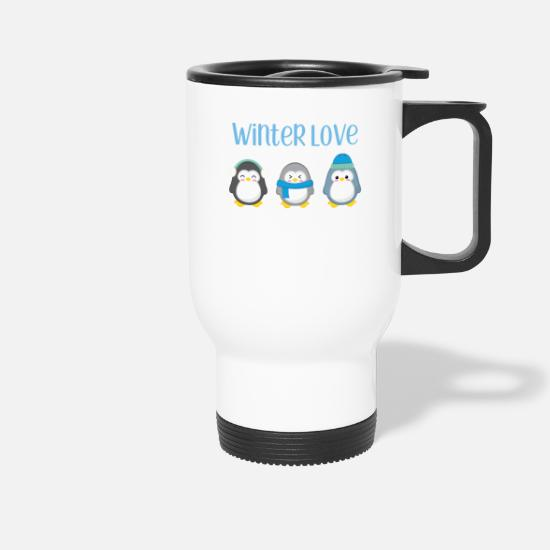 Winter Mokken & toebehoor - Penguin - Winter - gift - Sweet - Penguins - Thermosbeker wit