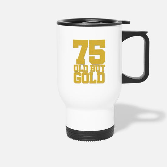 Birthday Mugs & Drinkware - 75th birthday round anniversary - Travel Mug white
