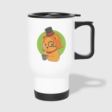 Dog with monocle and coffee - Travel Mug