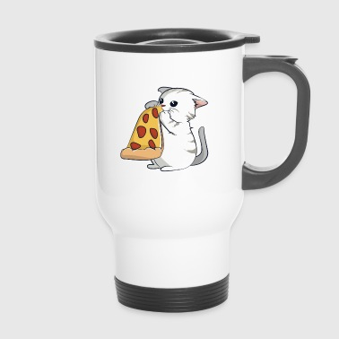 Chat mange une pizza - Mug thermos