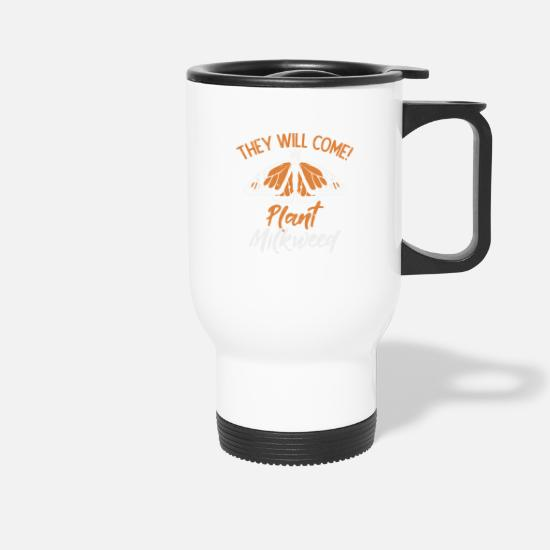 Wing Mugs & Drinkware - Monarch butterfly silk plant insect plant - Travel Mug white
