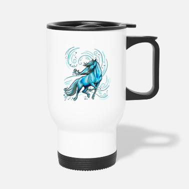 Swimming Mane Horse Beautiful Elegant Water Gift Blue Funny - Travel Mug
