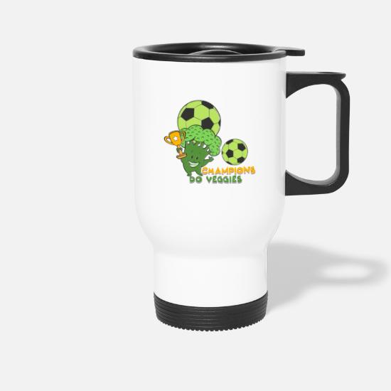 Birthday Mugs & Drinkware - Vegan Vegetarian Broccoli Soccer I Gift - Travel Mug white