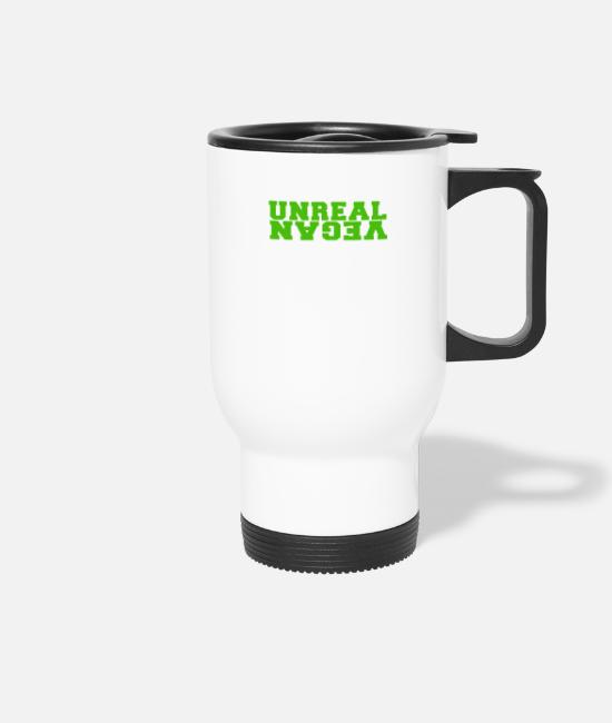 Backwards Mugs & Drinkware - Unreal vegan green - Travel Mug white