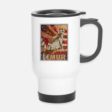 Environnement Affiche Retro Lemurs Distressed Look - Mug thermos