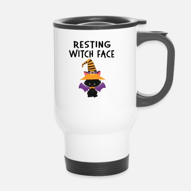 Trick Or Treat Resting WItch Face Halloween Cat Design - Thermo mok