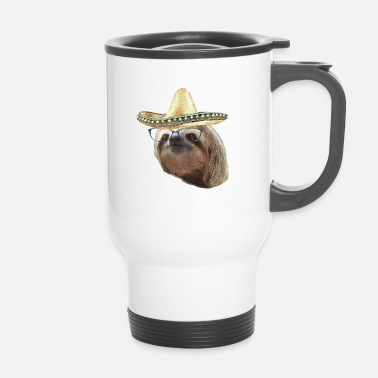 Esilarante Sloth Black Glasses Sombrero Sloths In Clothes - Tazza termica