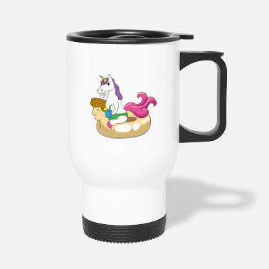 Swimming Mane Unicorn enjoys the sun on a swimming ring - Travel Mug