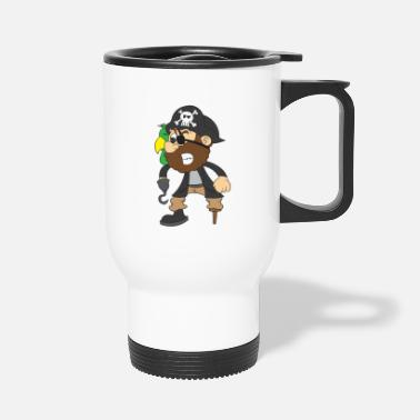 Pirate captain with parrot, eye patch and hook - Travel Mug