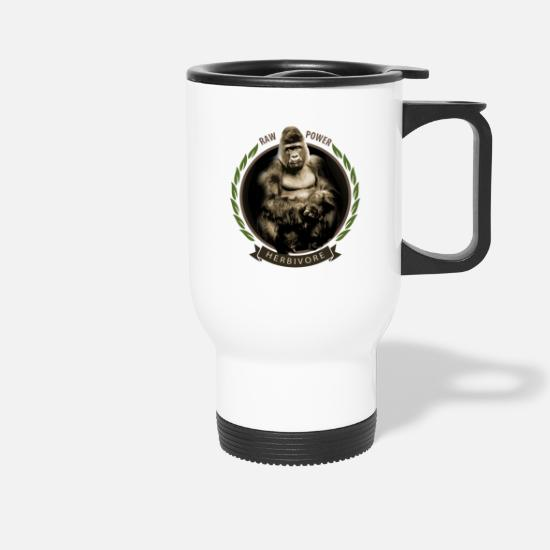 Gift Idea Mugs & Drinkware - Gorilla vegan raw raw food monkey strong gift idea - Travel Mug white