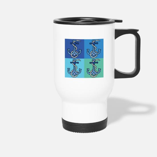 Anchor Mugs & Drinkware - 4 coordinated shades of blue with anchors - Travel Mug white