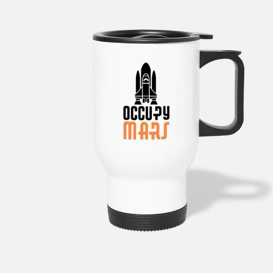Mars Mugs & Drinkware - Occupy Mars colonization planet space spaceship - Travel Mug white