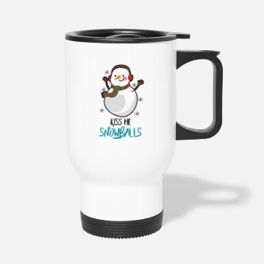 Kiss me Snowballs - Funny Christmas Gift Idea - Thermosbeker