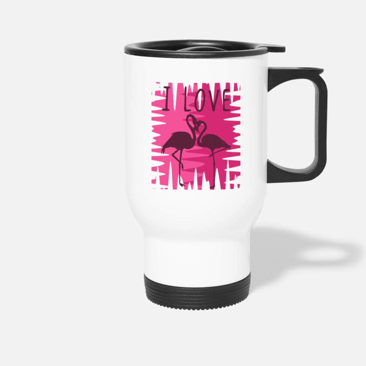 Jeg elsker flamingoer Termokopp hvit