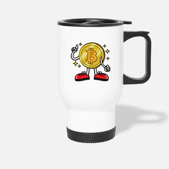 Bitcoin Mugs & Drinkware - Blockchain Bitcoin figure - Travel Mug white
