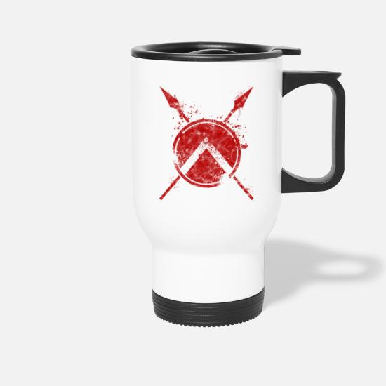 Sparta Mugs & Drinkware - Sparta fighter with shield and spear - used look - Travel Mug white