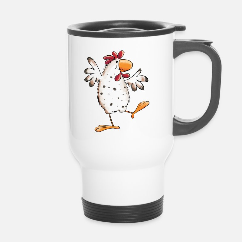 Chicken Mugs & Drinkware - Dancing Chicken - Hen - Funny - Cartoon - Travel Mug white