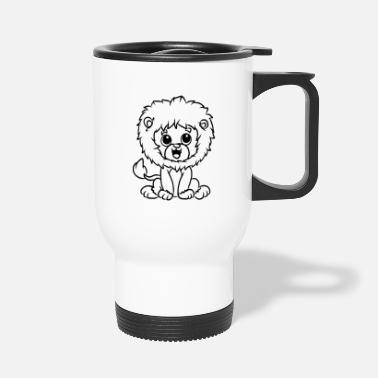 Yellow Children's shirt white with funny lion motif - Travel Mug
