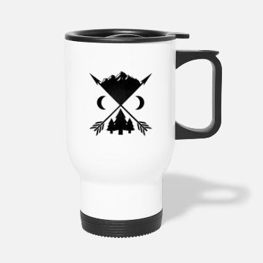 Wilderness Arrows trees and mountains - Travel Mug