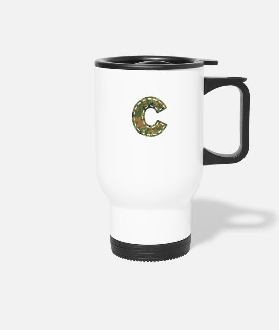 Army Mugs & Drinkware - C letter camouflage camouflage patch sewn Bundeswehr - Travel Mug white