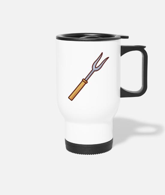 Heat Mugs & Drinkware - Bbq Fork With Wooden Handle - Travel Mug white