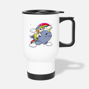Adorabile Unicorn Riding Narwhal Adorabile Unicorn Of The Sea - Tazza termica