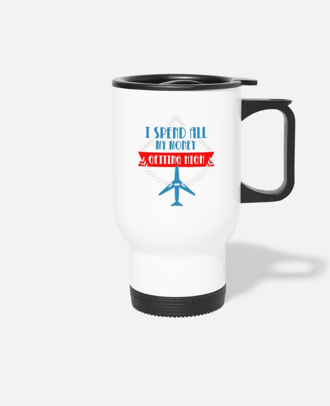 Pilot Mugs & Drinkware - Getting High - Airplane Pilot - Travel Mug white