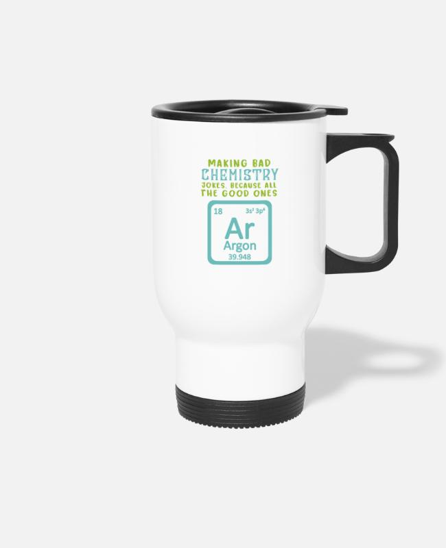 Maths Teacher Mugs & Drinkware - Chemical Symbol Of Argon - Chemistry Teacher - Travel Mug white