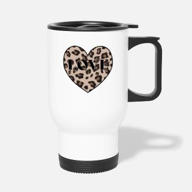 Print Leopard Print Black Love Heart Shape Animal Cheeta - Thermosbeker