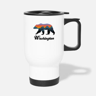 Grizzly Washington Bear Colorful Mountains Proud Camping Vintage - Travel Mug
