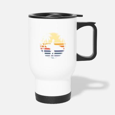 Circular Surfer with surfboard before sunrise with palm trees - Travel Mug