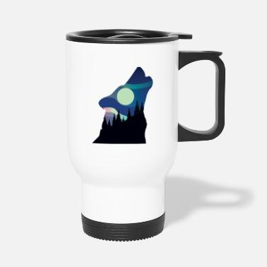 Stag Howling Wolf in the Forest - Travel Mug
