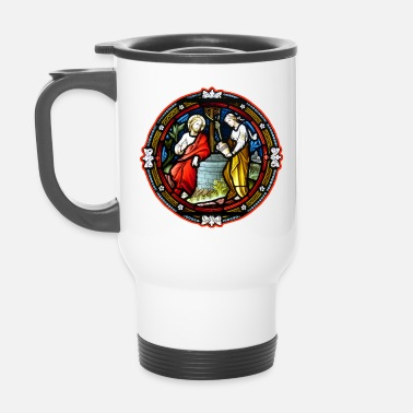 Windows stained glass window at the fountain - Travel Mug