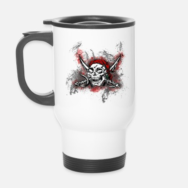 Jolly Roger Totenkopf Pirat Paint Splatter Art - Thermobecher