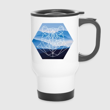 Norwegian bear in front of misty mountains - Travel Mug