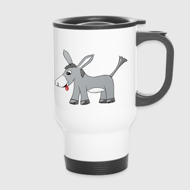 Donkey sticks out his tongue - Travel Mug